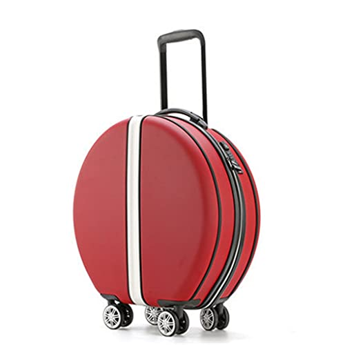 ZPDD Maleta con Ruedas para Mujer con Estuche de cosméticos, Bolsa de Equipaje de Viaje Redonda de ABS + PC, Caja y Bolso de Viaje Universal con Ruedas (Color : Red, Size : 01)