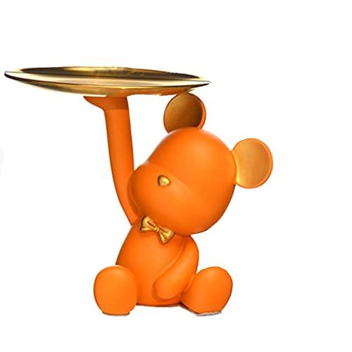 PEONTR Aufbewahrungstablett Bad,Bärenaufbewahrungstablett Schlüsselaufbewahrungsbox Kleine Ornamente Gast Couchtisch TV-Schrank Bürodekoration(Color:Orange)