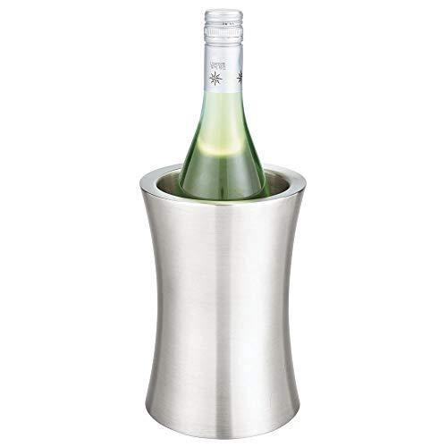mDesign moderner Flaschenkühler – stylischer Weinkühler ohne Zufügen von EIS – einzigartiger Flaschenhalter mit zeitlosem Design – silberfarben