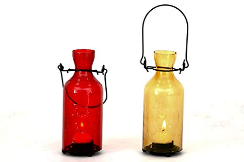 Sukima Decor Marinera Set 2 Portavelas Botella, Cristal, Rojo y Amarillo, 12x6x20 cm