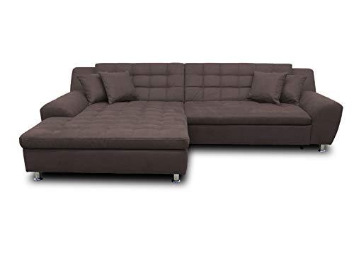 DOMO. collection Morton Ecksofa, Sofa in L-Form, Eckcouch, Polstergarnitur mit Schlaffunktion, 304x200x84 cm^Metall^Holz^Stoff^Kunstleder, anthrazit