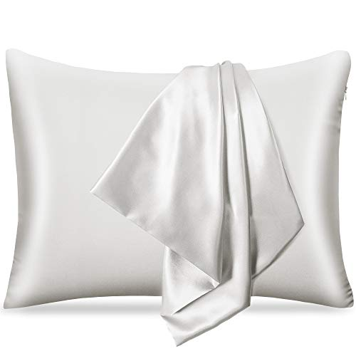 pendali Satin Kissenbezug für Haar und Haut, 100% Seidig Luxus Satin Kissenhülle mit Verstecktem Reißverschluss, 1 Stück Kopfkissenbezug Weich und Atmungsaktiv 48 x 66 cm Kissenbezüge (Weiß)
