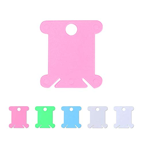Bobinas para Hilo 100 Piezas 5 Colores para Bordar a Punto de Cruz Manualidades Plástico