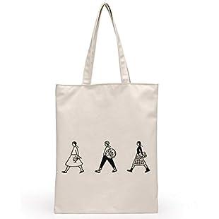 jingyuu Canvas Eco-Friendly Shopping Bag Student Shoulder Bags Reusable Carrying Case (White):Carsblog