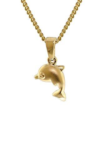 trendor Gold 333 Delfin-Anhänger mit 40 cm goldplattierter Halskette zauberhafter Goldschmuck für Kids, dieses Schmuckstück ist eine tolle Geschenkidee, 35768