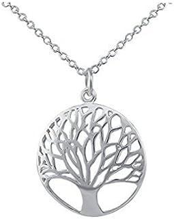 Natthom - Collana lunga da donna con ciondolo con albero della vita decorato con vetro e gemme D