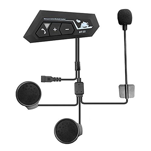 Didad BT22 5.0 Auriculares para Casco de Motocicleta Auriculares EstéReo Manos Libres InaláMbricos Auriculares MP3 Altavoz con MicróFono