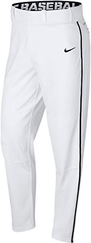Nike Mens Swoosh Piped Dri-FIT Baseball Pants (White/Black, Small)