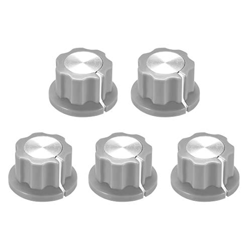 uxcell 5pcs 6.4mm Shaft Hole Potentiometer Volume Control Rotary Knobs Effect Pedal Knobs Grey