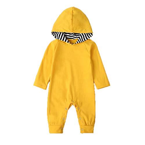 0-12 Meses,SO-buts Infantil Bebé Niños Niñas Manga Larga Mono Colorido Con Capucha Mono Mameluco Otoño Invierno Casual Pijamas Ropa (Amarillo,0-3 meses)