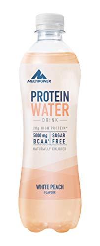 Multipower Protein Water, 12 x 500 ml mit Whey Protein angereichertes Wasser, leckeres Erfrischungsgetränk zur Flüssigkeitszufuhr, White Peach