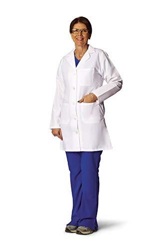 Medline Healthcare MDT11WHT24E Ladies Staff Length Lab Coat, Size 24, White