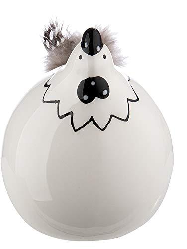 dekojohnson lustiges Deko-Huhn mit Federn Deko-Henne Deko-Vogel Hühnchen Glucke Funny Bird Tischdeko Osterdeko weiß schwarz sitzend 6x6x8cm Osterfest