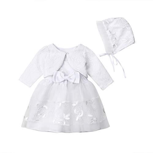 Dingdon 3-teiliges Set weiße Taufkleid + Bolero Ärmel + Mütze Chic Spitze Baby Mädchen Prinzessin A-Line Kleid Tüll für Zeremonie, Hochzeit, Weihnachtsgeschenk Gr. 3-6 Monate, weiß