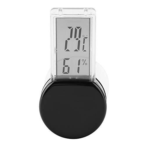 Pssopp Reptile thermometer en hygrometer digitale waterdichte thermometer en hygrometer, werkt op batterijen, thermometer met ingebouwde sensor voor terrarium reptiele terrarium terraria, zwart