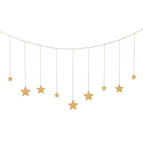 OCIOLI Stars Garland with Chains Boho Hanging Ornaments Art Room Decor for Wedding Home Office Nursery Room Dorm (Gold Stars)