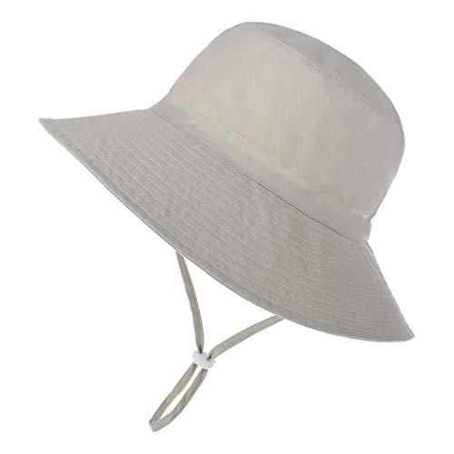 Baby Sun Hat Toddler Summer UPF 50+ Sun Protection Baby Boy Hats Beach Hats Wide Brim Bucket for Baby Girl Adjustable Kid Cap Beige Small