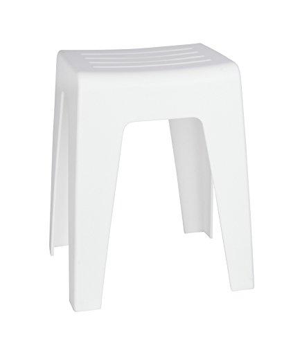 WENKO Badhocker Kumba Weiß - Hocker, Sitzhocker, Wohnhocker, Polypropylen, 38 x 47 x 32 cm, Weiß