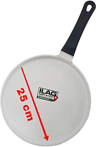 MaxxGoods Premium Pfannkuchenpfanne für Induktion - Weiß - Durchmesser: 25 cm