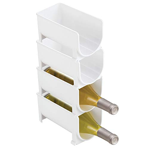 mDesign Vertical Stacking Wine Rack - Crystal Clear Bottle Rack - Horizontal Wine Holder Extends Wine and Cork Life - 4 Stackable Wine Racks x 1 Bottle Each - White