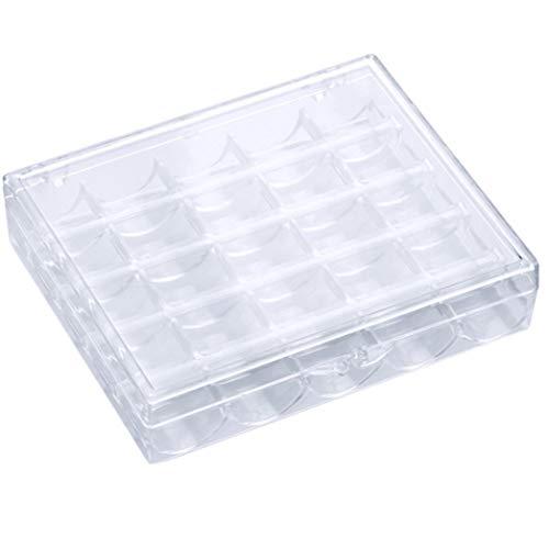 XQWR 25 Grille Vide Boîte À Canette Bobines De Machine À Coudre Étui De Rangement en Plastique Accessoires De Couture (Transparent)