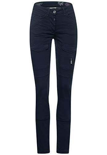 Cecil Damen Hose mit Cargo-Taschen deep Blue 34 Schlanke Passform, Hipster, Enge Beinform, Damenhose Style Vicky