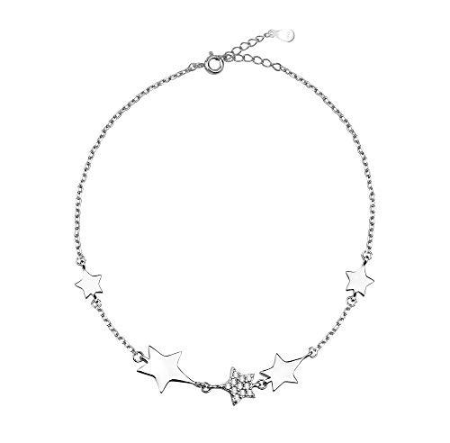 SOFIA MILANI - Pulsera para Mujeres en Plata de Ley 925 - con Circonitas - Colgante de Estrella - 30032