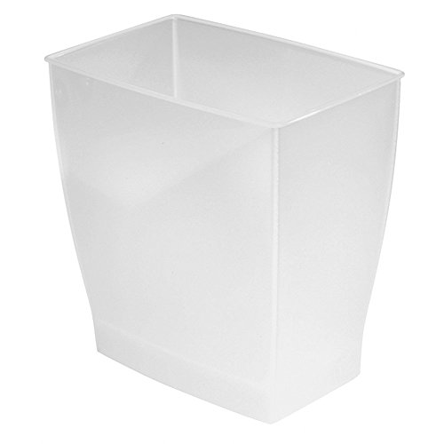iDesign 64720 Spa Rectangular Trash Can Waste Basket Garbage Can for Bathroom Bedroom Home Office Dorm College 25 Gallon Frost