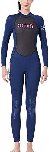 Women's Diving Suit, Neopreen-Full Wetsuit 3 Mm Zipper Back For Women Ideaal For De Zomer Vakantie En Duiken (Color : Blue, Size : XL)