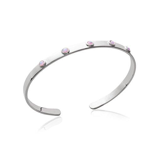 Pulsera, brazalete rígido de plata 925/000rodiada con circonitas y piedras engarzadas de color rosa
