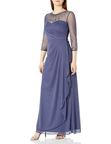 Alex Evenings Women's Long A-Line Sweetheart Neck (Petite and Regular Sizes), Violet Dress, 12