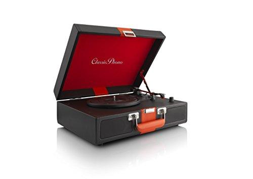 Classic Phono TT-33 koffer-platenspeler in retro-stijl, kunstleren oppervlak, AUX-ingang, RCA-line-uitgang zwart