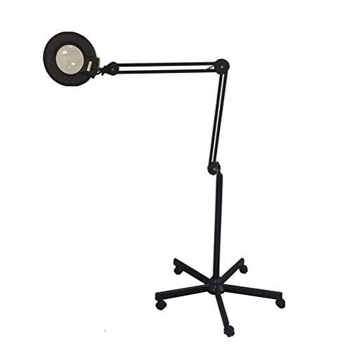 Lampe loupe LED 5X/8X/10X Beauty LAMP lumière froide Shadowless pliable avec base de roue, outil de lecture de manucure beauté,Black,8X