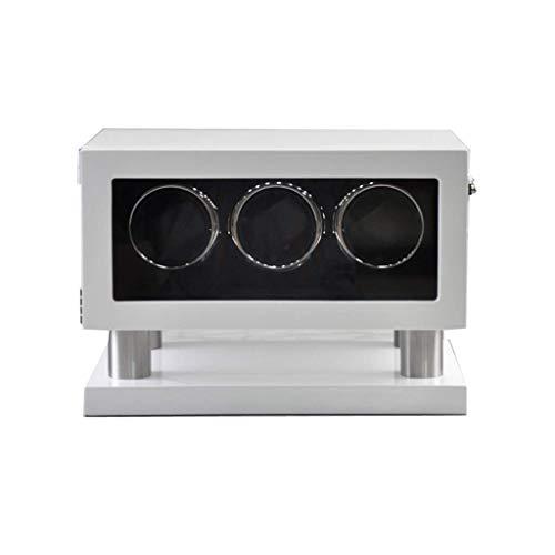JHSHENGSHI Caja enrolladora de 3 Relojes, Acabado de Madera con 3 Almohadillas de Reloj Iluminación incorporada Alimentado por un Motor silencioso Regalo navideño