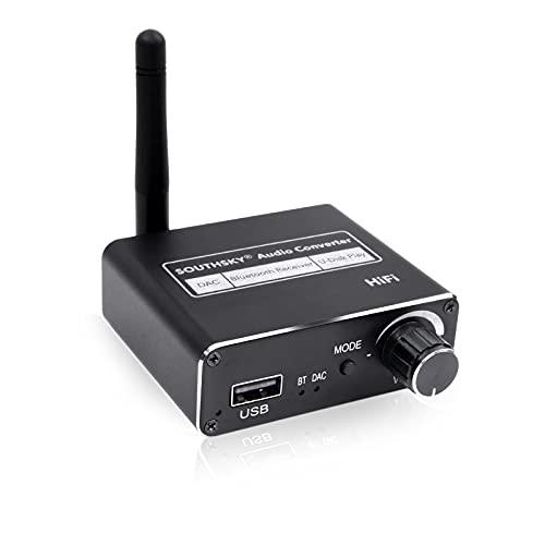 SOUTHSKY Audio Converter,DAC Bluetooth 5.0 Receptor,USB Disk Play,Digital a Analógico,Toslink óptico Coaxial a Estéreo 3.5mm R/L para HDTV,TV Box