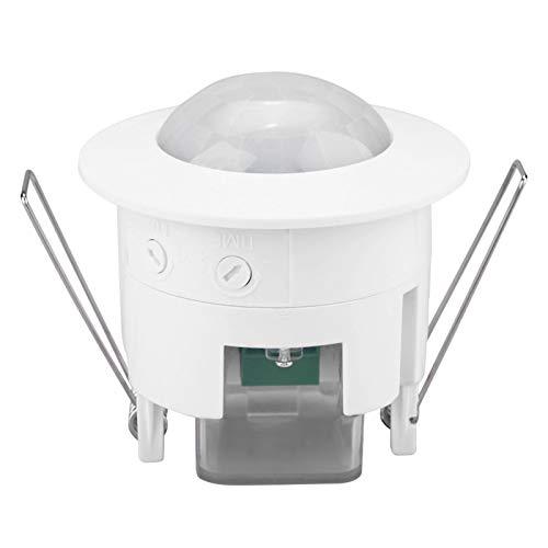 Sensor de movimiento infrarrojo, interruptor de luz de detector de sensor de movimiento de techo Pir empotrado infrarrojo de 360 °, interruptor de luz de lámpara de detector mini ajustable 220v