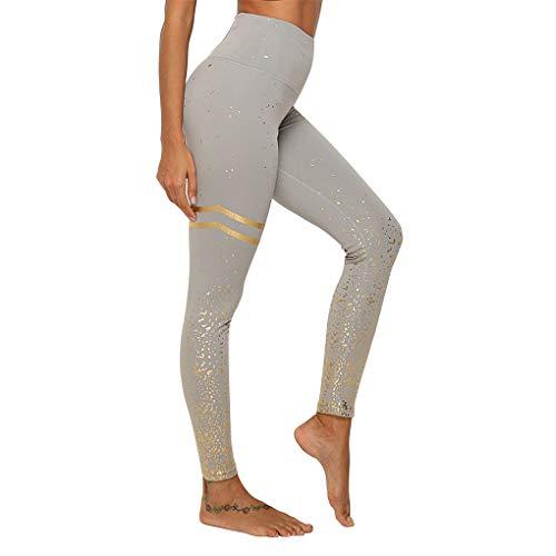 WINTAPE Yoga Hose Damen mit hoher Taille Enge Yoga Hose Workout Leggings (grau, XL)