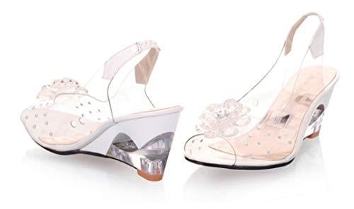 High Heel Sandaletten Damen Riemchen Pumps,Große Sandalen Frauen 40-43 Meter, Blumen Transparente Sandalen, Keil Damenschuhe, 42, Weiß
