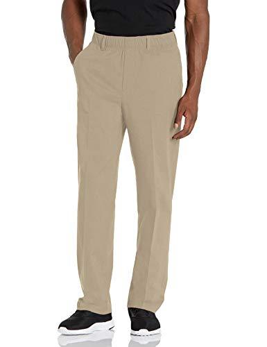 Haggar Men's Free No Iron Classic Fit Flat Front Full Elastic Pant, Medium Khaki, 36 X 29