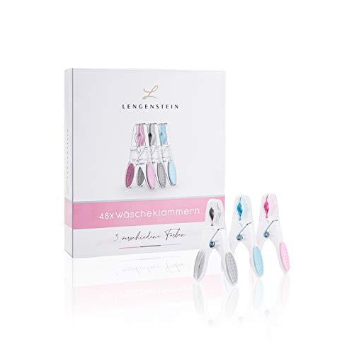 Lengenstein® 48 wasknijpers van kunststof, 3 pastelkleuren, blauw, roze grijs, premium kleding pegs clothespin…