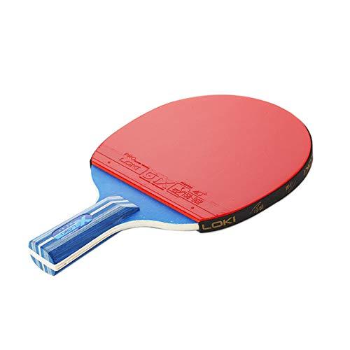 ZJH Raqueta de Tenis de Mesa, Paleta de Goma del Ping-Pong del Pegamento del revés de Doble Cara de Madera de Wenge de 5 Capas,Shorthandle