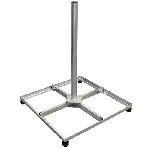 PremiumX Balkonständer Stahl 4 X 30 X 30 TWD Holland mit Mast/Sat Flachdachständer für Satellitenschüssel