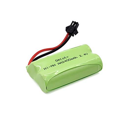 Gecoty® 2,4V Akkupack, 2400mAh NI-MH wiederaufladbarer AA-Akku mit SM 2P-Stecker für RC-Spielzeug, Beleuchtung, Elektrowerkzeuge, Haushaltsgeräte