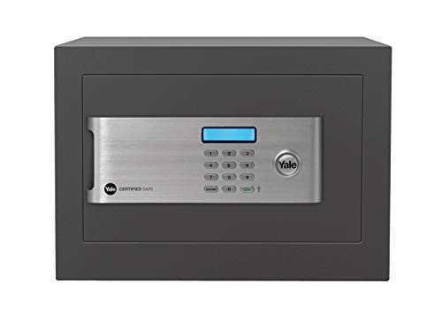 Yale YSM/250/EG1 Certified Home Safe, Insurance Approved, 22 mm Motorised Locking Bolts, LCD Screen, 18 Litre Capacity