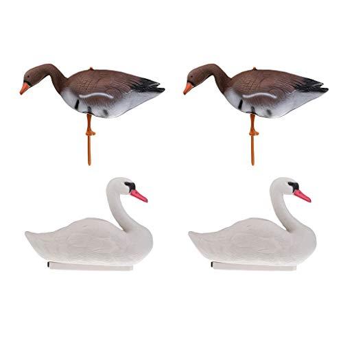 CUTICATE 4 x PVC Lockvogel - Schwimmend Schwan Vogelscheuche für Jagd
