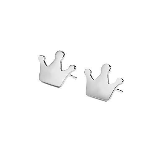 LIKGREAT, orecchini a forma di corona minimalista per donne e ragazze e Acciaio inossidabile, colore: argento