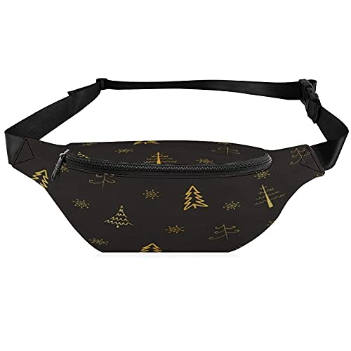 Phone Fanny Pack Merry Christmas Golden Xmas Tree on Black Waist Packs Hip Travel Bag for Men Women Outdoors Workout Traveling Casual Running Hiking Cycling Dog Walking Fishing