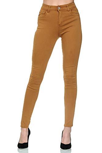 Elara Damen Jeans High Waist Chunkyrayan YG616 Khaki-36 (S)