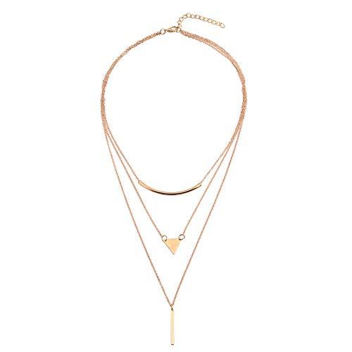 Beydodo Damen Halskette Choker Vergoldet, Choker Tattoo Kette Collier Anhänger Zylinder Dreieck Halskette Damen Vintage Gold