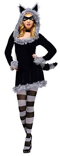 shoperama 5-teiliges Waschbär Damen Kostüm Kleid Kapuze Maske Schwanz Strumpfhose Fell Tier, Größe:M/L